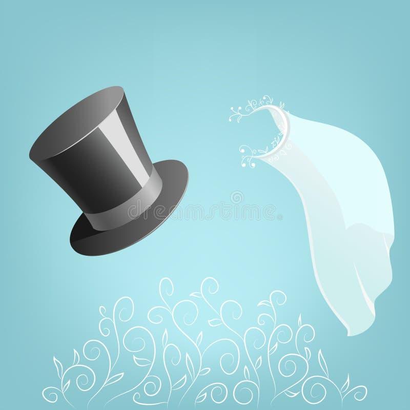 Véu do chapéu superior e do casamento com ornamento floral ilustração royalty free
