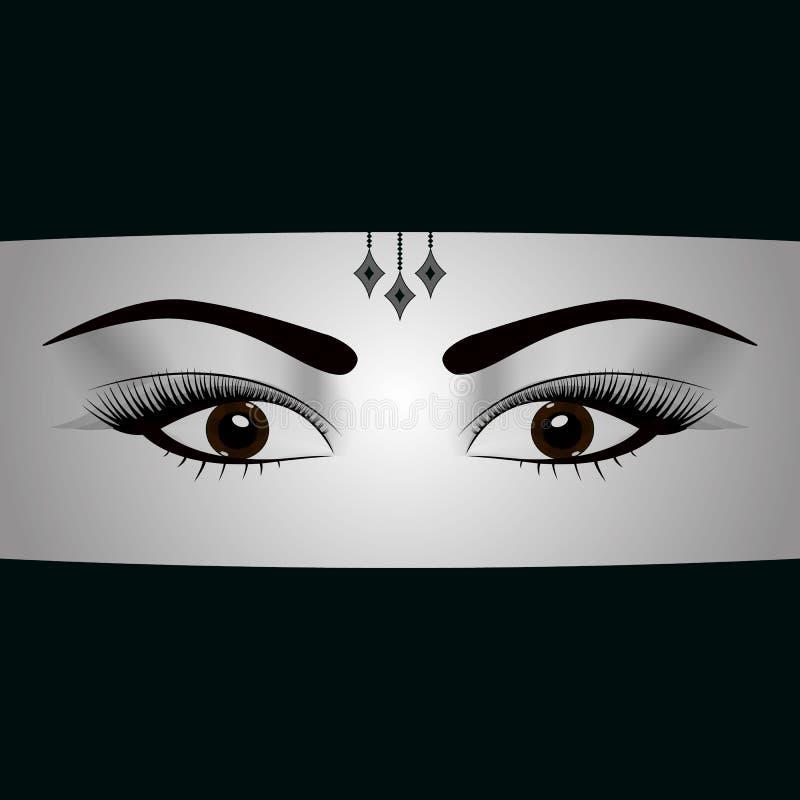 Véu fechado da cara da mulher muçulmana árabe Retrato, olho e Islã bonitos, ilustração ilustração royalty free