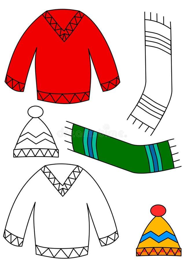Vêtement de l'hiver - livre de coloration illustration libre de droits