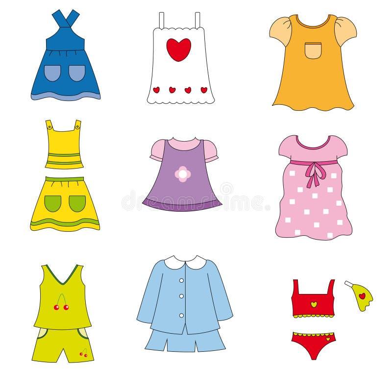 Vêtement de mode pour des filles illustration libre de droits