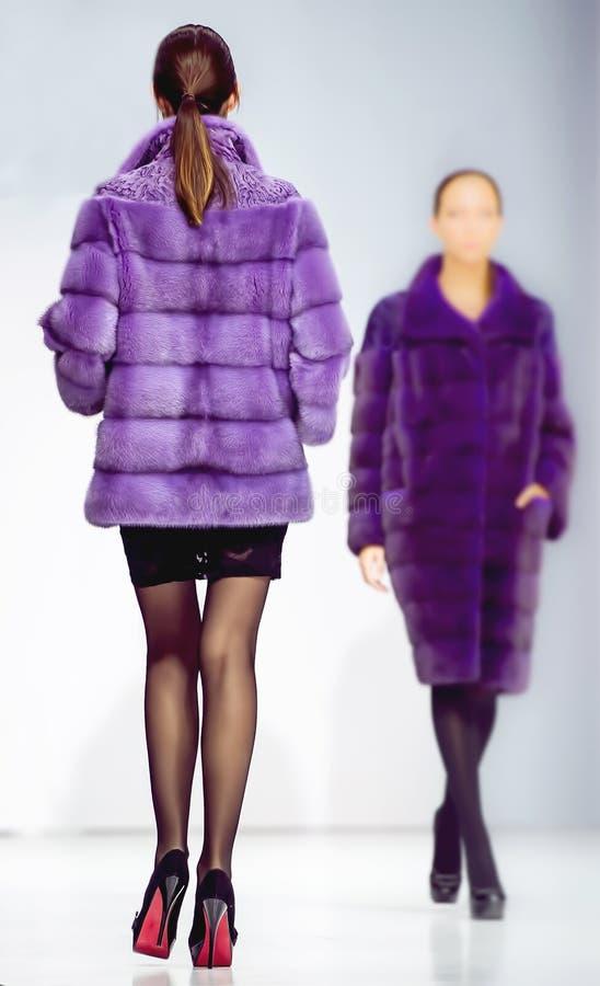 Vêtements élégants de femme de mode d'hiver les deux dans le pourpre de fourrure de vison enduisent photo stock