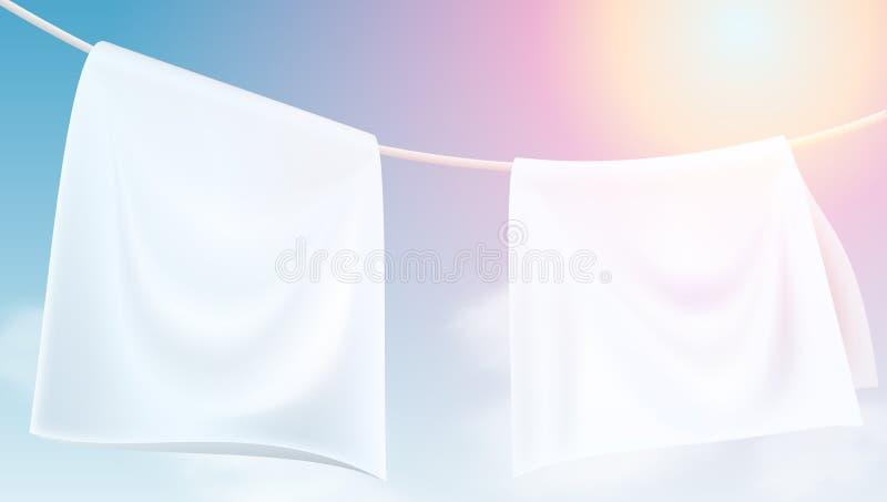 Vêtements blancs lumineux accrochant sec sur une corde illustration libre de droits