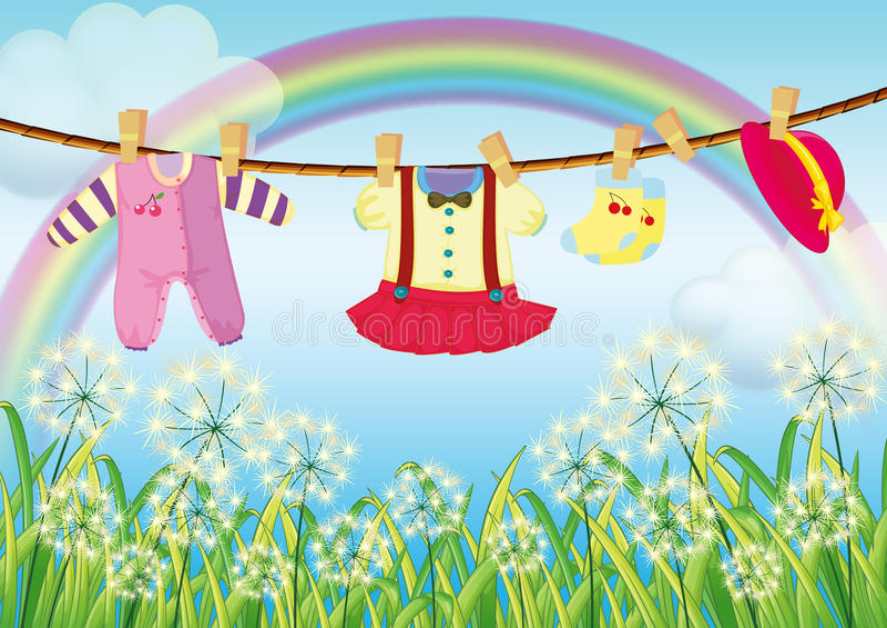 Vêtements d'enfants accrochant près de l'herbe illustration de vecteur
