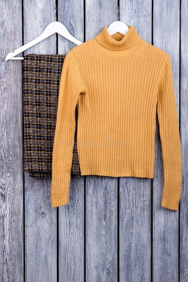 Vêtements d'hiver du ` s de femme sur des cintres image libre de droits