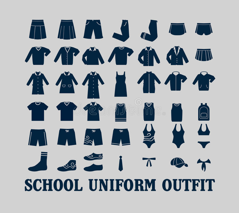 Vêtements d'uniforme scolaire illustration de vecteur