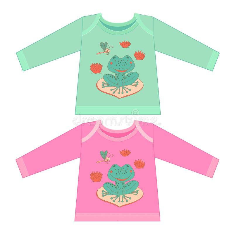 Vêtements de bébé avec des animaux de bande dessinée Petite grenouille peu précise illustration libre de droits