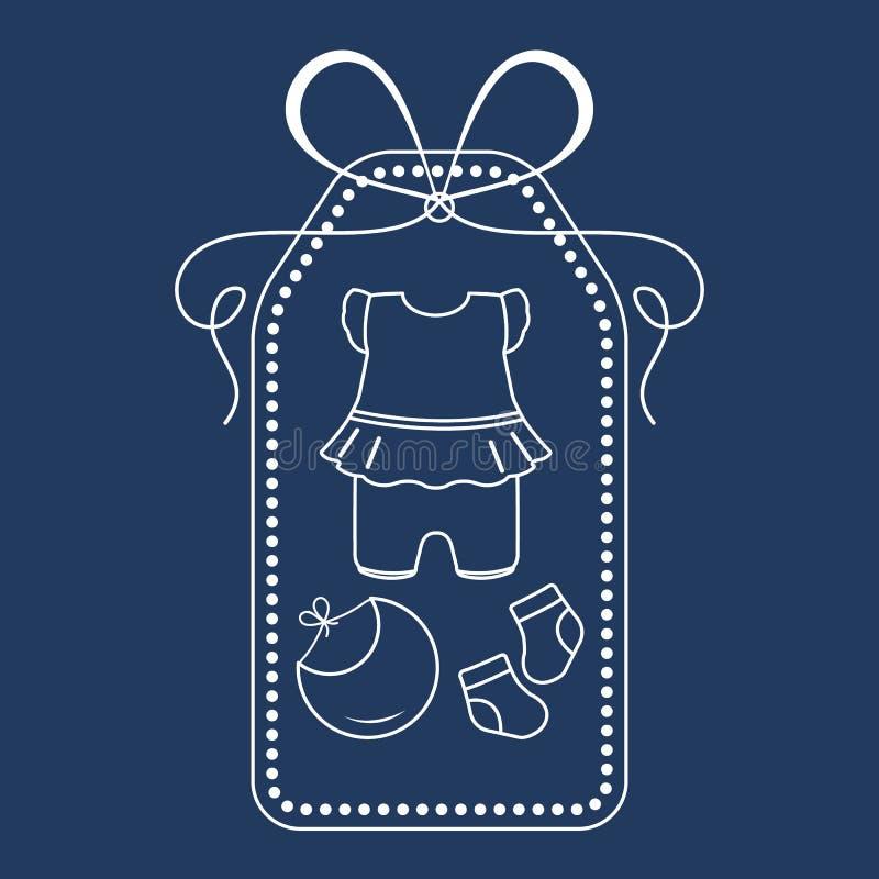 Vêtements de bébé Bavoir, chaussettes, combinaison nouveaux-nés illustration stock