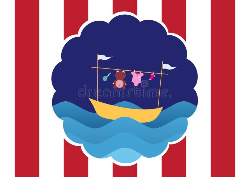 Vêtements de bébé sur le bateau et l'ondulation jaunes, conception pour des cartes d'enfant illustration stock