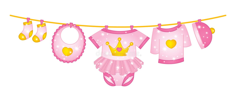Vêtements de bébé de vecteur accrochant sur la ligne illustration stock