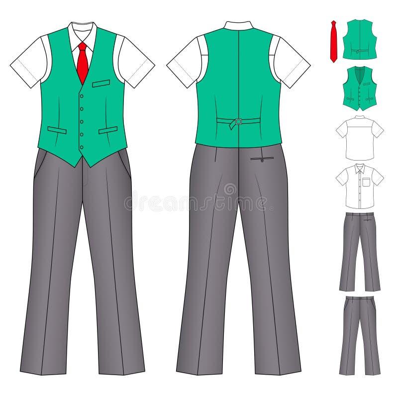 Vêtements de caissier ou de vendeur d'homme illustration de vecteur