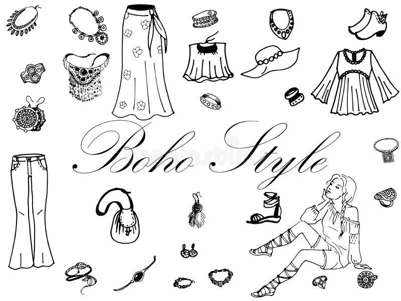 Vêtements de femmes de mode illustration stock