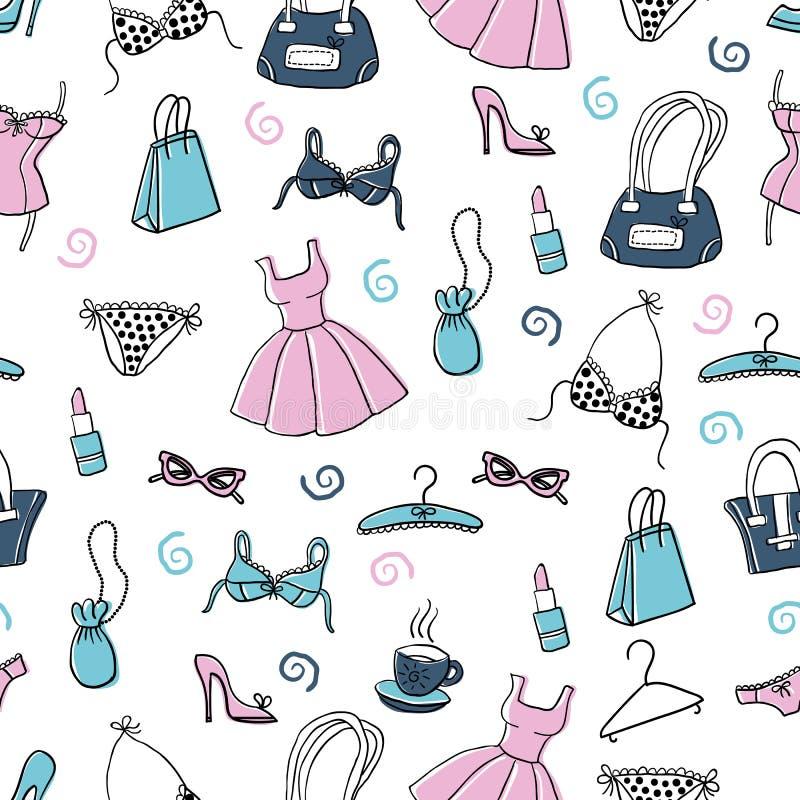 Vêtements de femmes et accessoires, modèle sans couture de griffonnage tiré par la main illustration libre de droits