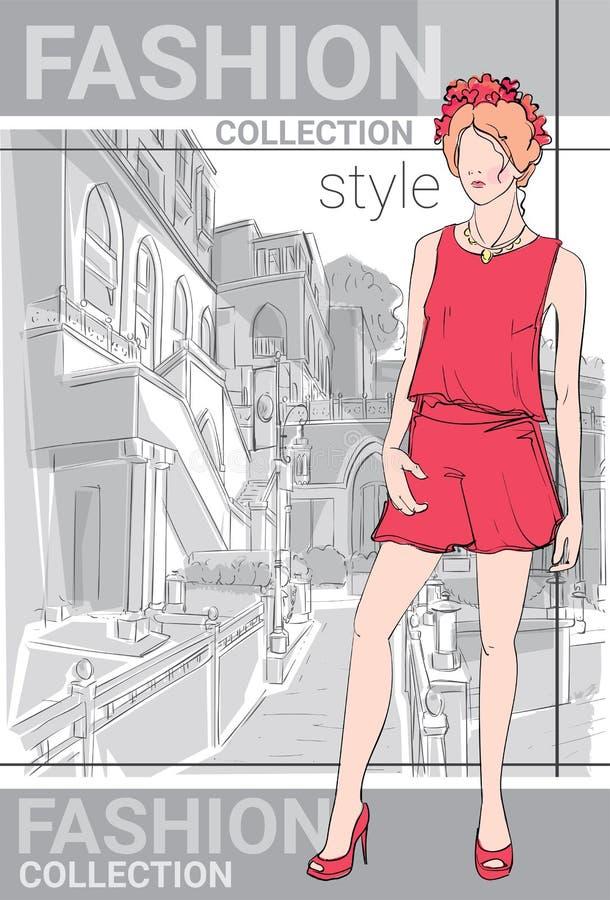 Vêtements de Girl Wear Elegant de modèle de style de collection de mode dans le croquis de rue illustration libre de droits