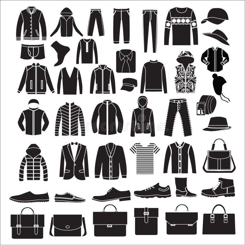Vêtements de la mode des hommes et accessoires - illustration illustration libre de droits