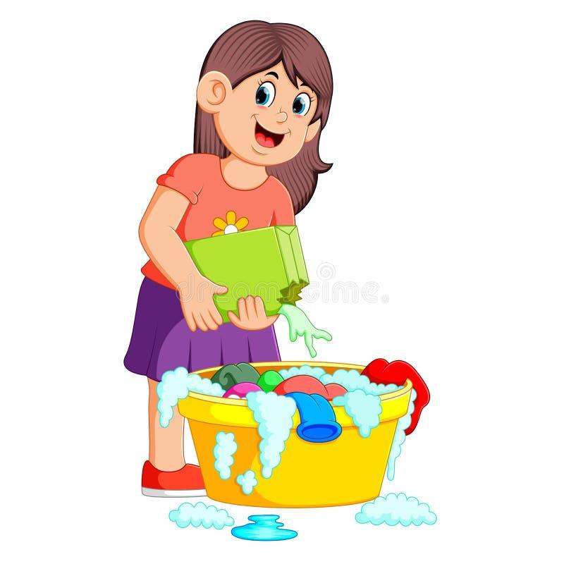 vêtements de lavage femelles en bassin avec le détergent illustration stock