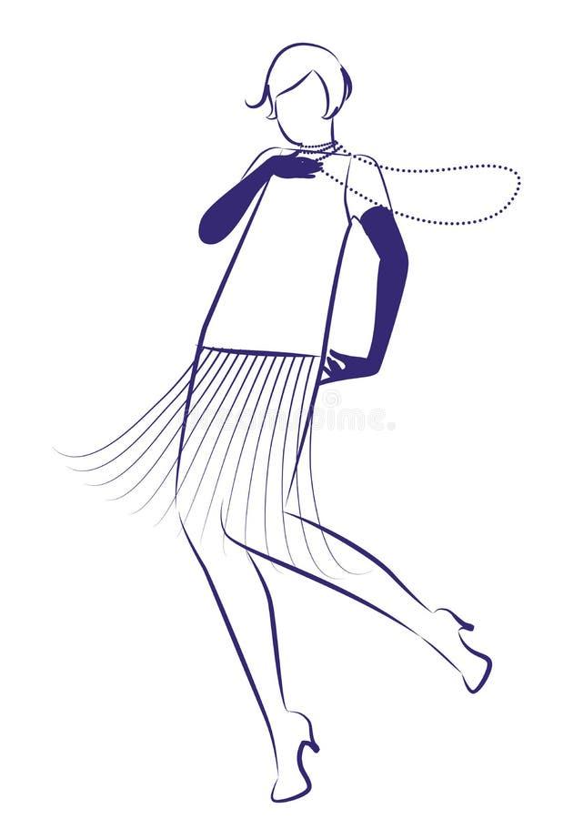 Vêtements de port des années 1920 de fille d'aileron et longue danse de colliers illustration de vecteur
