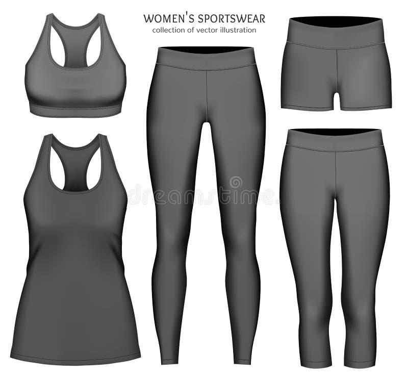 Vêtements de sport de vecteur de femmes illustration de vecteur