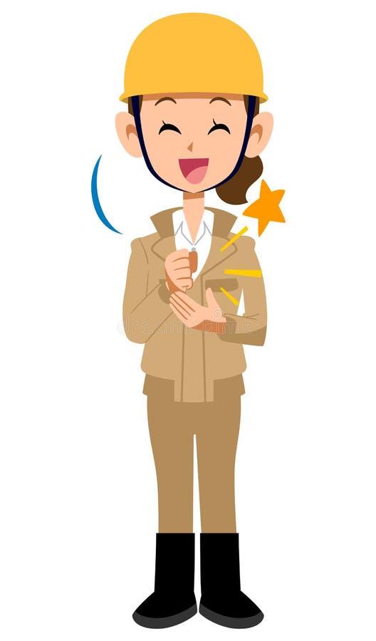 Vêtements de travail beiges de construction de chantier de femme consciente de travailleur illustration de vecteur
