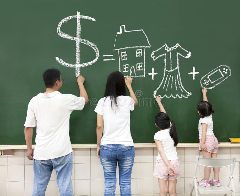 Vêtements et jeu vidéo de maison d'argent de retrait de famille image stock