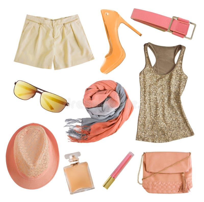 Vêtements femelles et accessoires de couleurs douces d'isolement photo libre de droits