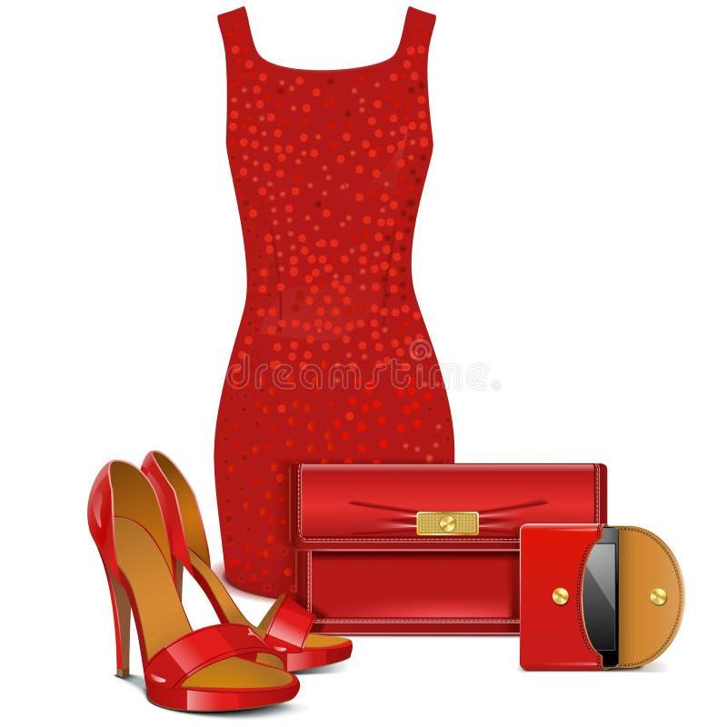 Vêtements femelles rouges de vecteur illustration stock