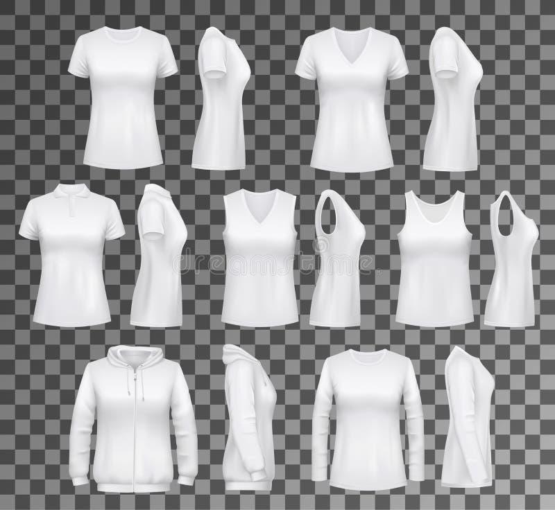 Vêtements femelles T-shirt, hoodie et sous-vêtements de femmes illustration de vecteur