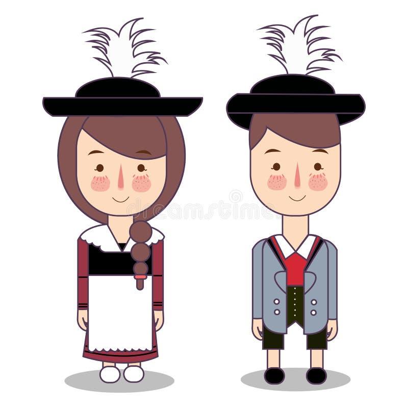 Vêtements nationaux traditionnels de la Bavière de l'Allemagne Ensemble de personnages de dessin animé dans le costume traditionn illustration libre de droits