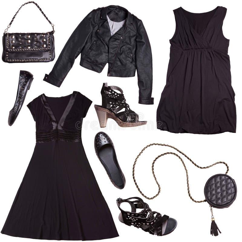 Vêtements noirs pour des femmes - type punk photographie stock