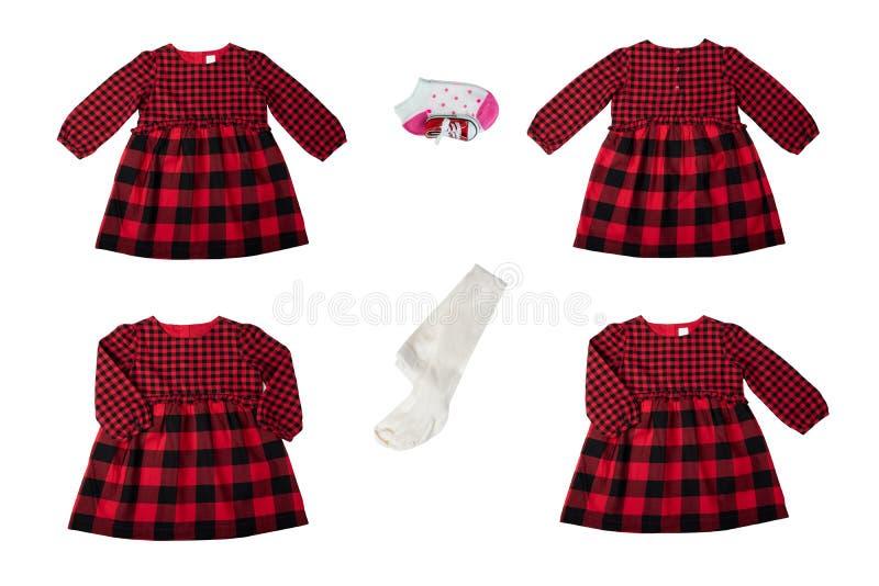 Vêtements pour des enfants Un ensemble d'un beau contrôleur rouge et noir photos libres de droits
