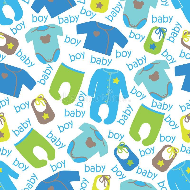 Vêtements pour le modèle sans couture de bébé garçon nouveau-né illustration de vecteur