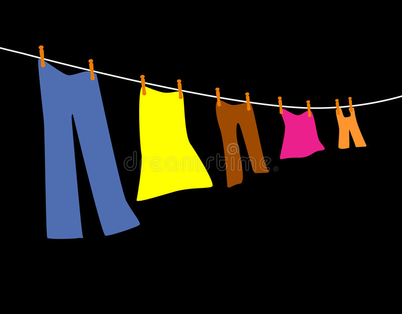 Vêtements s'arrêtant sur une ligne illustration stock