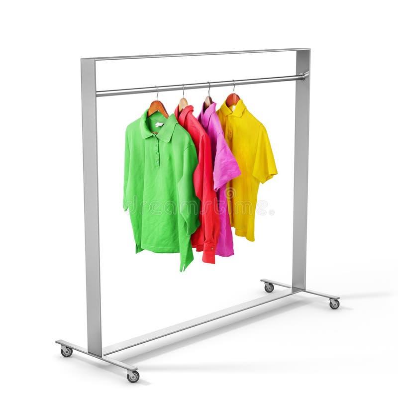 Vêtements sur le support de cintre sur un blanc photos libres de droits