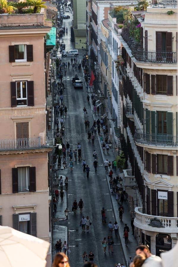 Vía Condotti en Roma imágenes de archivo libres de regalías