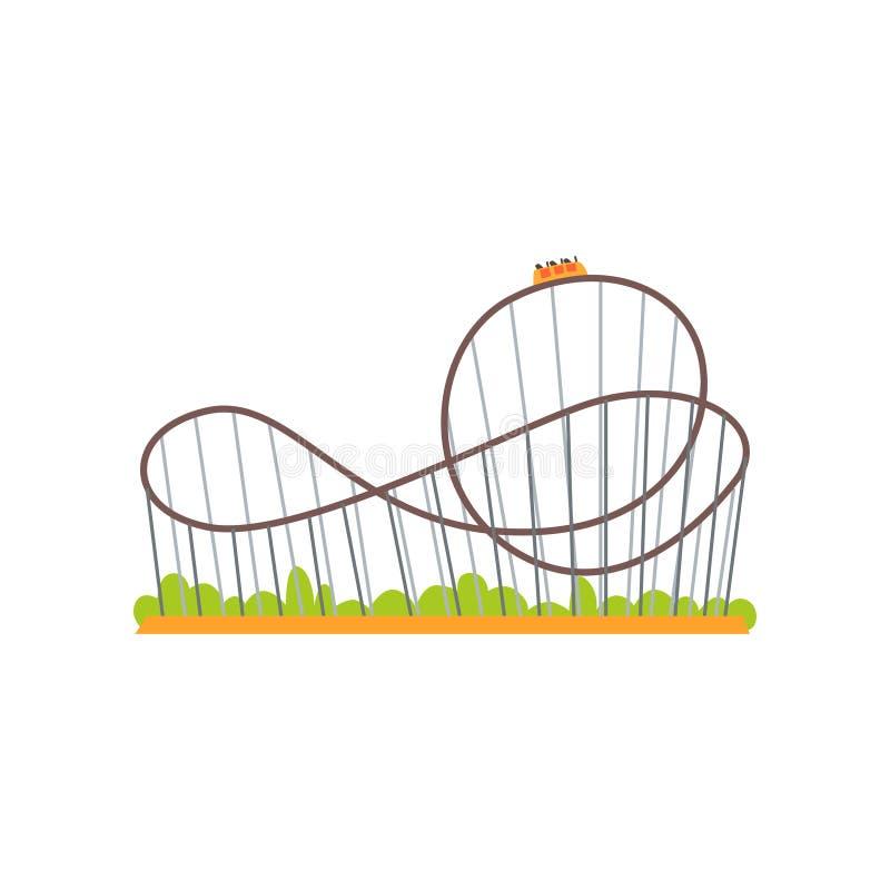 Vía del roller coaster con el tren Atracción extrema del paseo Concepto del parque de atracciones de la familia Icono plano color ilustración del vector
