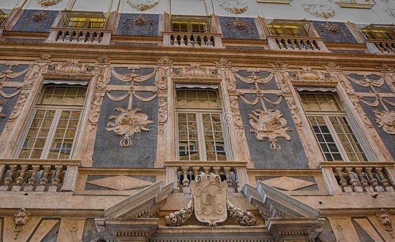 Vía Garibaldi - Palazzo Lomellino de Génova, Italia fotografía de archivo