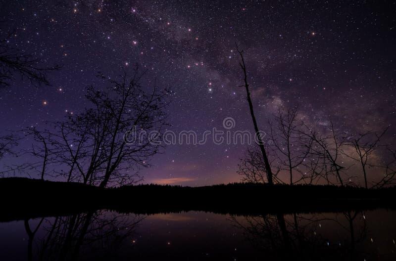 Vía láctea con las estrellas grandes del centelleo fotos de archivo