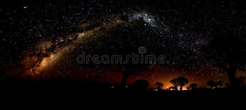 Vía láctea del horizonte al horizonte foto de archivo libre de regalías