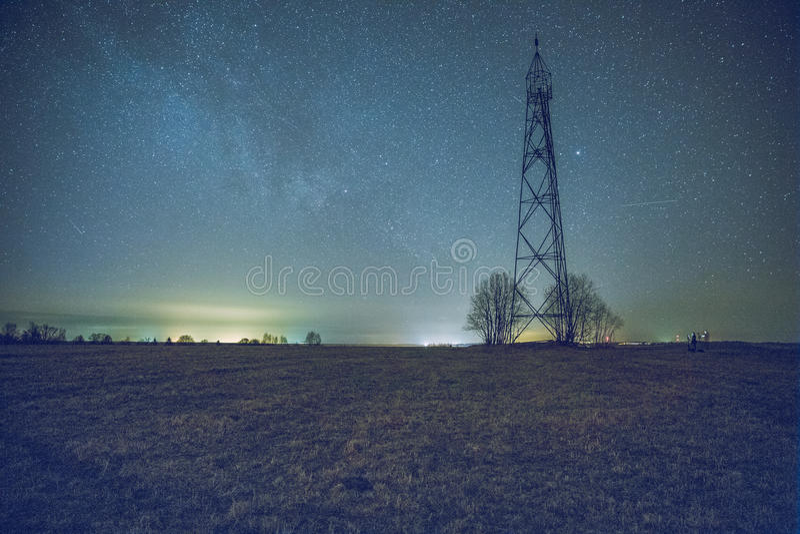 Vía láctea en noche foto de archivo libre de regalías