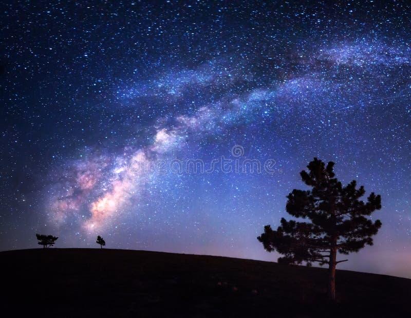 Vía láctea Paisaje hermoso de la noche Cielo con las estrellas Fondo fotografía de archivo libre de regalías