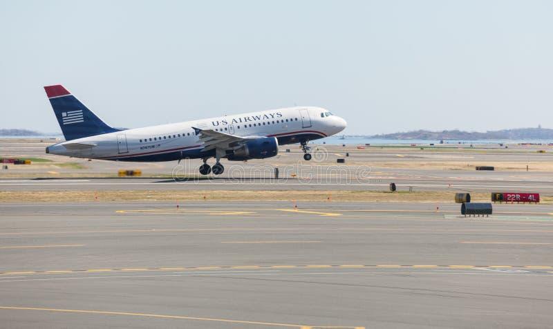 Vías aéreas Airbus A319 de los E.E.U.U. en Logan imágenes de archivo libres de regalías