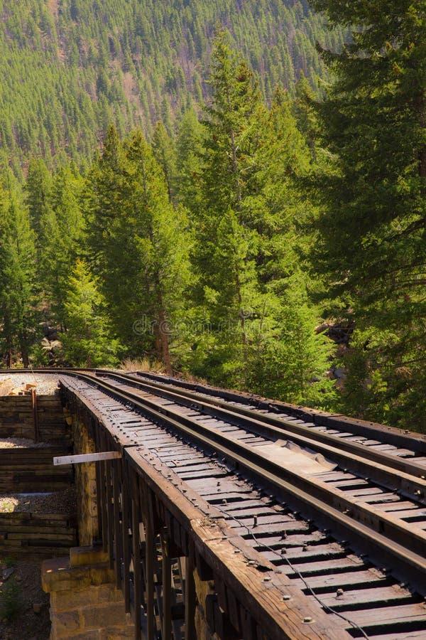 Vías del tren de ferrocarril a través del campo foto de archivo
