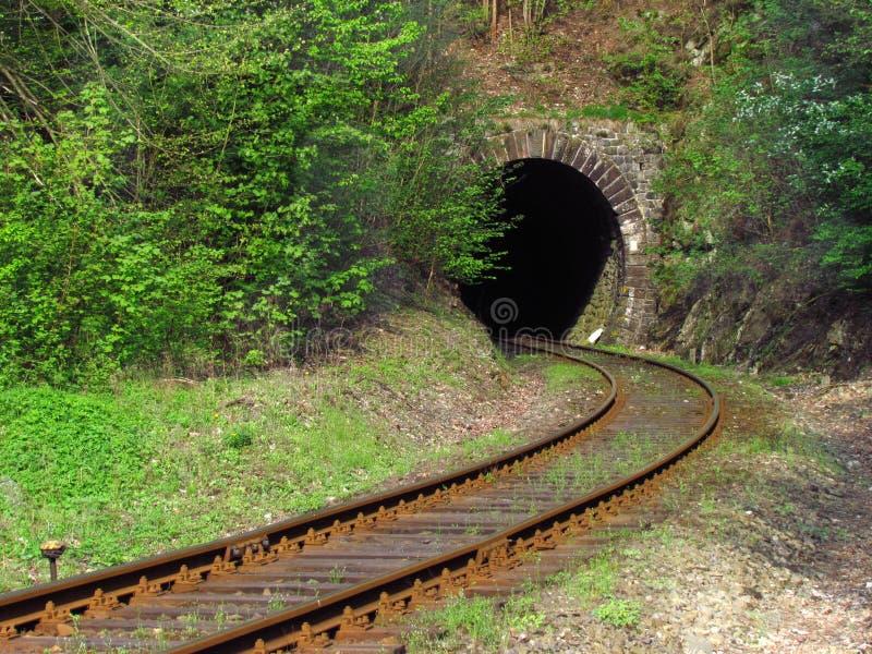 Vías ferroviarias viejas en la naturaleza que lleva en el túnel, viajando en tren fotos de archivo libres de regalías
