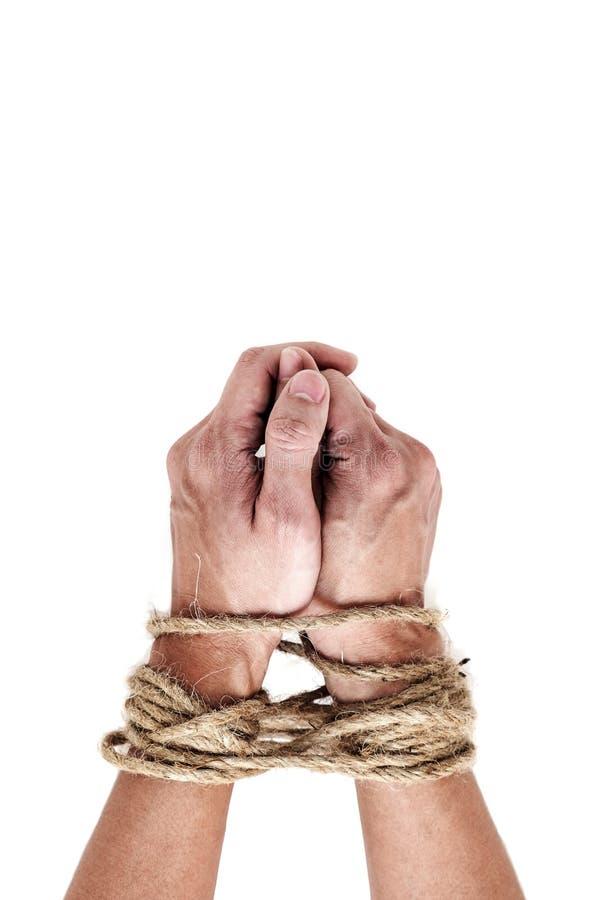 Víctima, esclavo, manos masculinas del prosoner atadas por la cuerda grande aislada encendido foto de archivo