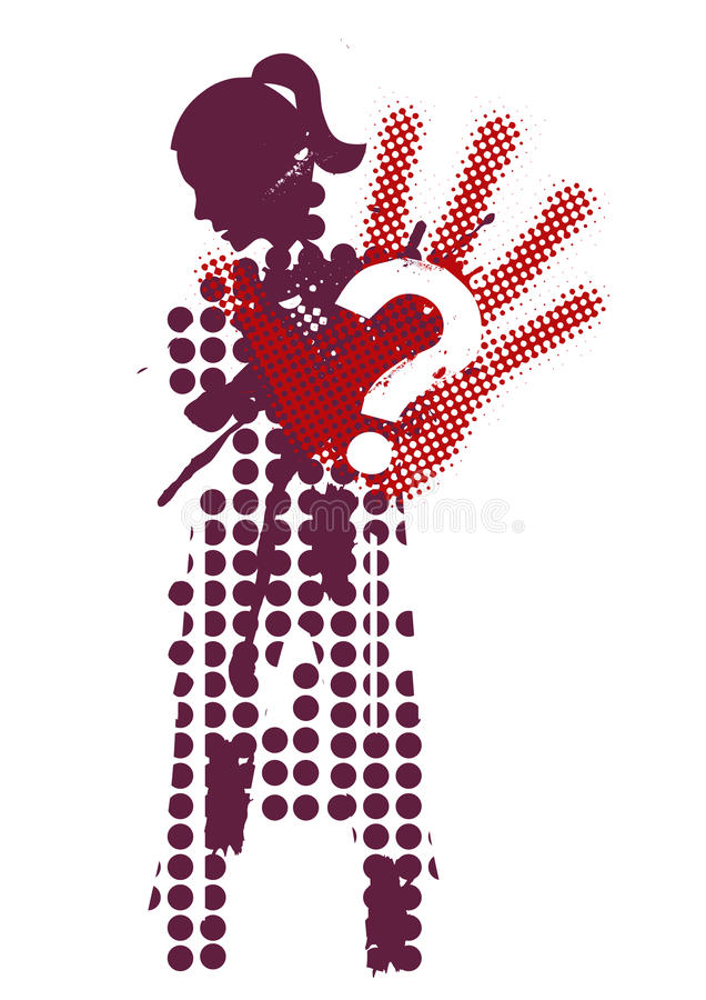 Víctima femenina de la silueta de la violencia ilustración del vector