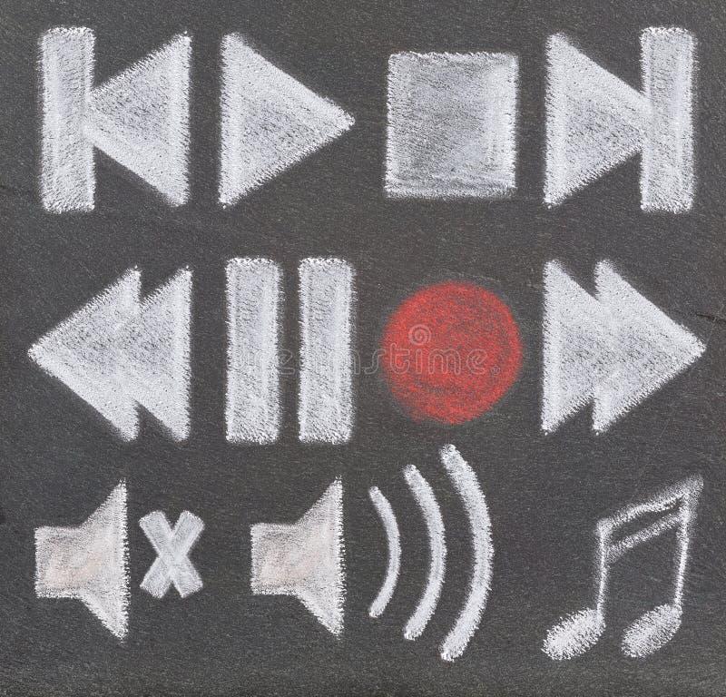 Vídeo audio determinado del icono stock de ilustración