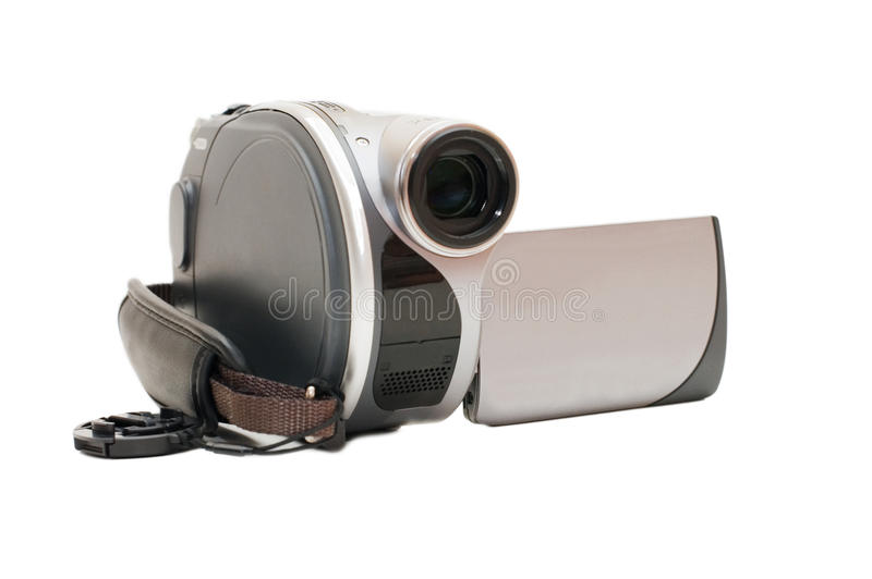 Vídeo câmera cinzento isolado no fundo branco fotografia de stock royalty free