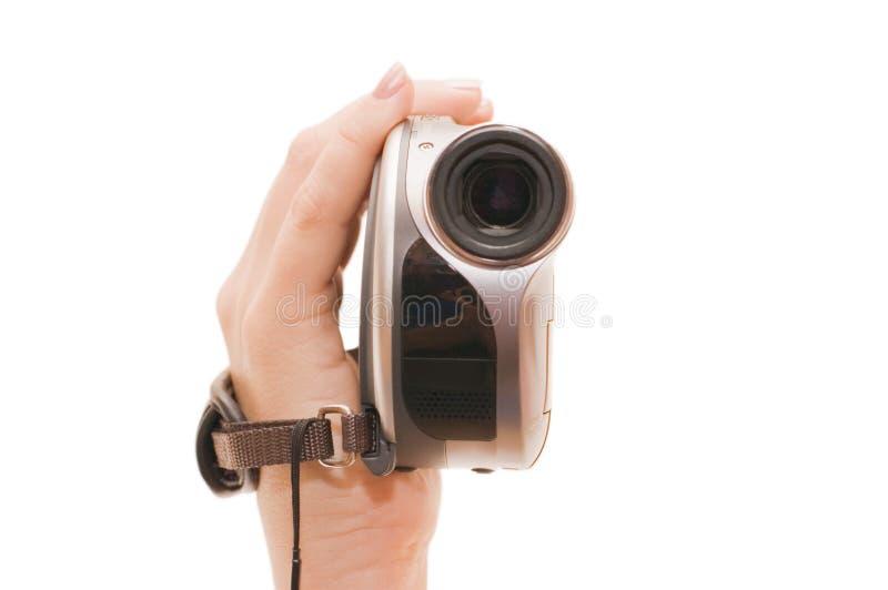 Vídeo câmera em uma mão fêmea fotos de stock
