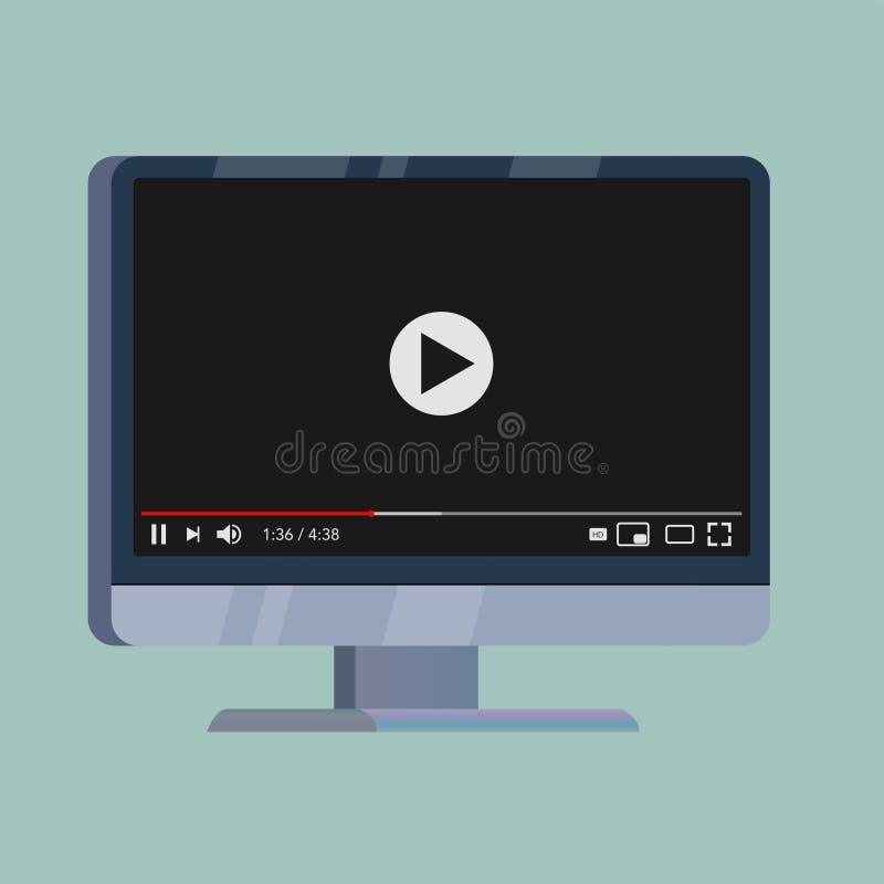 Vídeo clássica para o vetor do vapor do Internet ilustração stock