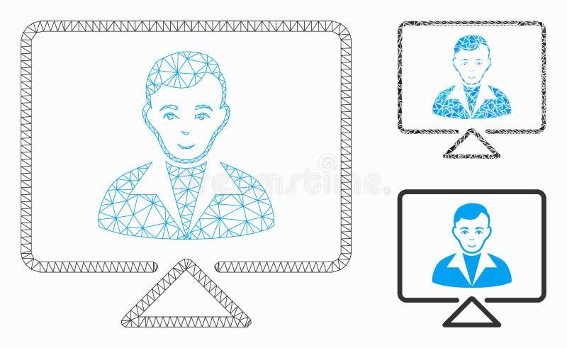 Vídeo Contato Vetor Malha Wire Modelo e Triângulo Ícone Mosaico ilustração stock