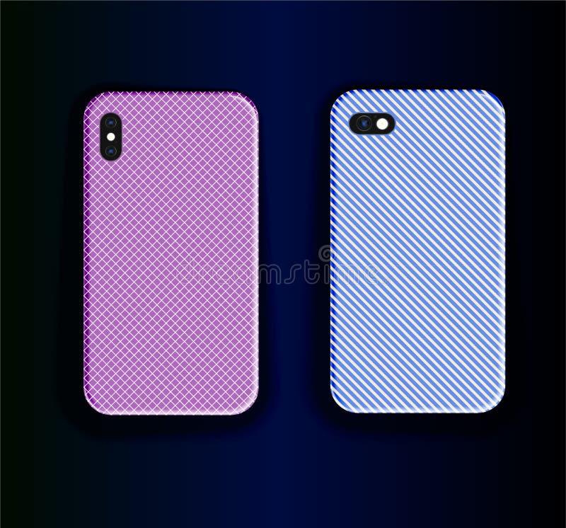 Vídeo de recorte da capa do smartphone - dois designs de capa estilosos Lindos padrões de impressão roxos e padrão de impressão a ilustração royalty free